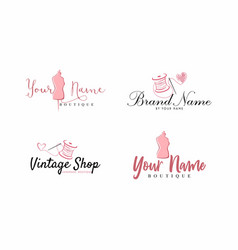 tailor sewing vintage mannequin fashion logo set vector image