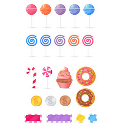 Tasty sweets isolated collection vector