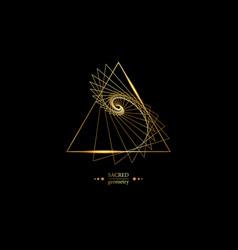 Triangles according to fibonacci series gold logo vector