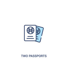 Two passports concept 2 colored icon simple line vector