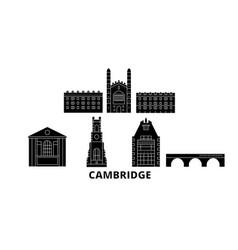 United kingdom cambridge flat travel skyline set vector