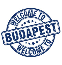Welcome to budapest blue round vintage stamp vector
