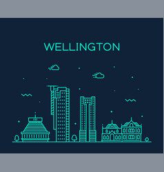 wellington city skyline new zealand linear vector image