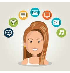 Woman web online isolated vector