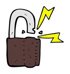 comic cartoon padlock symbol vector image vector image