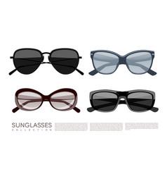 Modern fashionable stylish sunglasses set vector