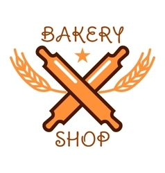 Bakery shop retro badge with crossed rolling pins vector image