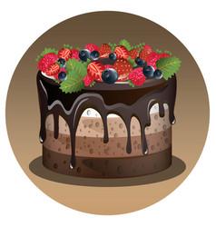 birthday cake with berry vector image