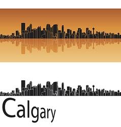 Calgary skyline in orange background vector image