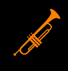 musical instrument trumpet sign orange icon on vector image