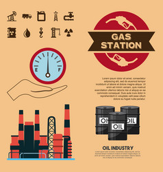 oil industry gas station trasnport factory vector image