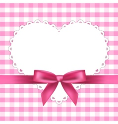 pink frame with heart vector image vector image