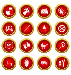 Pregnancy symbols icon red circle set vector