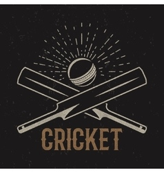 Retro cricket club emblem design logo icon vector image vector image