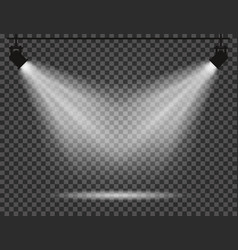 spotlights with light beams on transparent vector image vector image