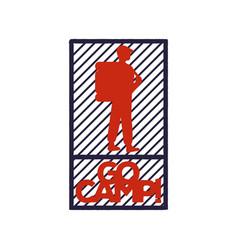 vintage red-blue emblem of a tourist or traveler vector image vector image