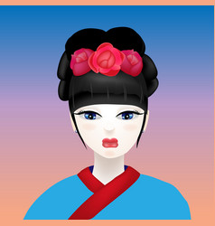 Geisha with a white face vector