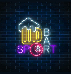 Glowing neon sign of bar with billiards including vector