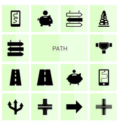 14 path icons vector
