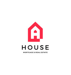 a letter house home mortgage real estate logo icon vector image