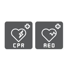 Aed emergency defibrillator aid cpr icon vector