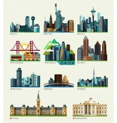 American and Canadian cities vector