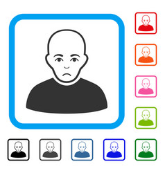 Bald man framed sadly icon vector