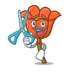 Barber poppy flower character cartoon vector