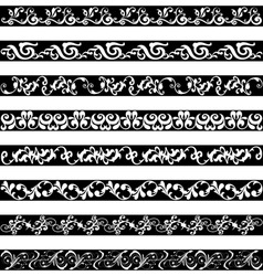 Black White ornament border designs vector image