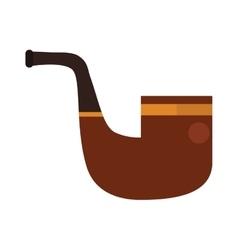 Brown smoking pipe modern flat vector