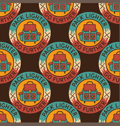 camping patches pattern design - outdoors vector image