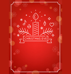candle and ornaments outline christmas eve vector image