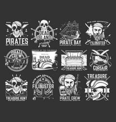 Caribbean pirates and corsair monochrome icons vector