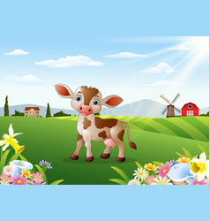 cartoon cow in rural landscape vector image