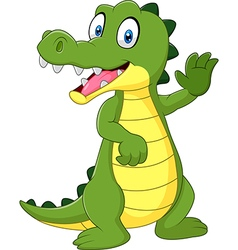 Cartoon funny crocodile waving hand isolated vector