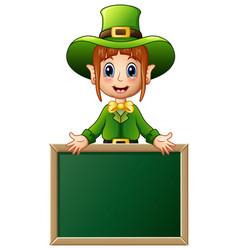 cartoon girl leprechaun presenting with chalkboard vector image