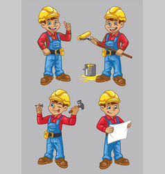 Cartoon of construction worker character in set vector