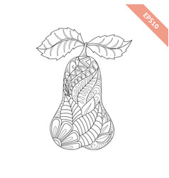 cartoon ornate pear coloring book vector image