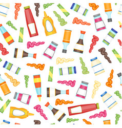 cartoon sauces bottle seamless pattern background vector image