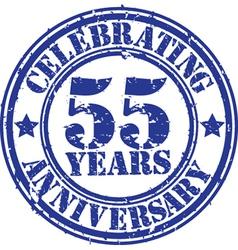 Celebrating 55 years anniversary grunge rubber sta vector