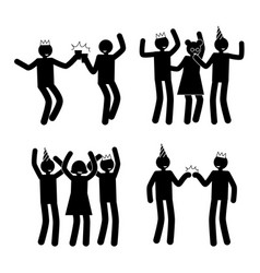 celebration poses set black pictogram silhouettes vector image