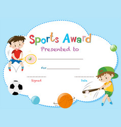 Certificate template with two boys playing sports vector
