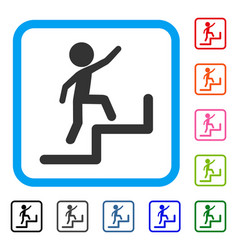 Child steps upstairs framed icon vector
