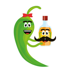 chilli pepper with tequila bottle comic character vector image