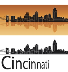 Cincinnati skyline in orange background vector image