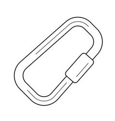 Climbing carabiner line icon vector