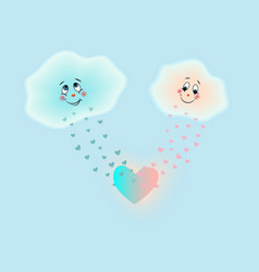 clouds in love with the heart vector image