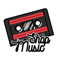 color vintage music shop emblem vector image