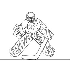 continuous one line hockey goalkeeper winter vector image