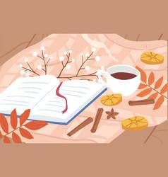 Cozy autumn outdoor picnic composition with open vector